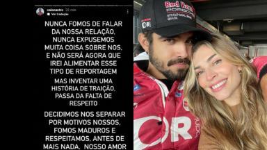 Print de texto postado por Caio Castro sobre fim de namoro negando traição e foto do ator abraçado com Grazi Massafera