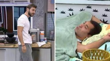 De um lado da imagem, Caio está na cozinha do BBB21 pegando uma água no filtro; do outro lado está Gilberto coberto deitado na cama do quarto cordel