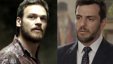 Em A Força do Querer, o personagem Rubinho, à esquerda, e Caio, à direita, da novela A Força do Querer