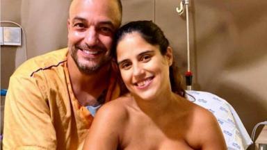 Camilla Camargo e marido, Leonardo, posados em hospital