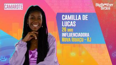Cartaz do BBB21 com informações sobre Camilla de Lucas