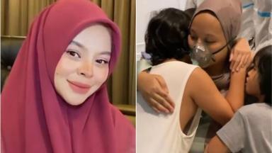 Siti posada com véu; Sarah recebe a visita de crianças no hospital