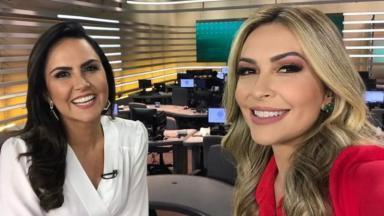 As apresentadoras Carla Cecato e Thalita Oliveira na bancada do Fala Brasil, programa jornalístico da Record