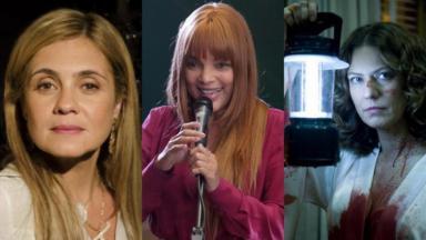 À esquerda, Adriana Esteves como Carminha em Avenida Brasil; à direita, Patrícia Pillar como Flora em A Favorita; no centro, a deputada federal Flordelis