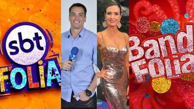Logos do carnaval da Band e SBT, Leo Dias e Fátima Bernardes