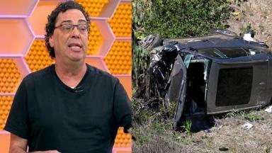 Casagrande (à esquerda) e o carro de Tiger Woods (à direita) em foto montagem