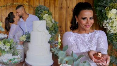 Viviane Araújo e Guilherme Militão se beijam e a atriz posa com vestido branco no seu casamento do civil