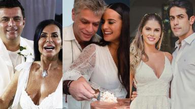 Montagem de famosos em cerimônia de casamento.