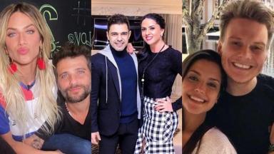 Os casais: Bruno Gagliasso e Giovanna Ewbank; Zezé di Camargo e Luciele; e Thais Fersoza e Michel Teló