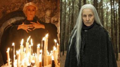 Cássia Kiss na novela Eterna Magia, da Globo, e na série Desalma, do Globoplay