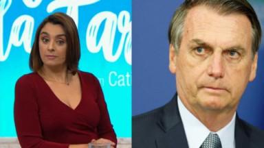 Catia Fonseca no estúdio do Melhor da Tarde; Bolsonaro sério