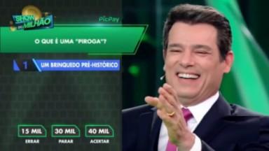 Celso Portiolli ri após cometer gafe e falar palavrão no Show do Milhão, do SBT