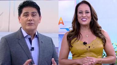César Filho e Renata Alves durante o programa Hoje em Dia, na Record