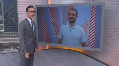 César Tralli conversa com Felipe Andreoli no SP1, telejornal da Globo