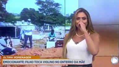 Sylvie Alves chorando no Cidade Alerta Goiás