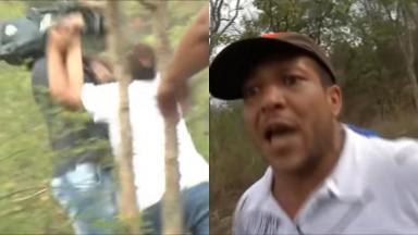 Cinegrafista sendo agredido