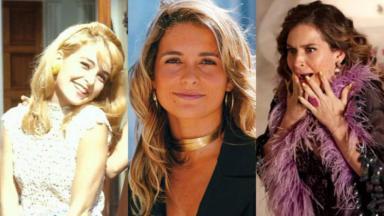 Cláudia Abreu na pele das personagens Heloísa, Laura e Chayene, respectivamente, de Anos Rebeldes (1992), Celebridade (2003) e Cheias de Charme (2012)
