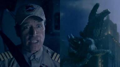 """Comandante Hamilton """"enfrenta"""" Godzilla em chamada do Cine Maior"""