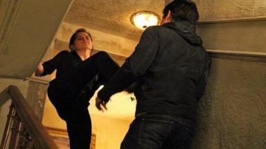Cora chuta Fernando do topo da escada