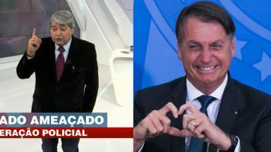 Datena durante o Brasil Urgente; Bolsonaro fazendo coração com as mão