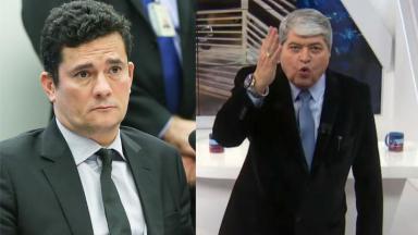 Sergio Moro sério; Datena irritado, com a mão pra cima