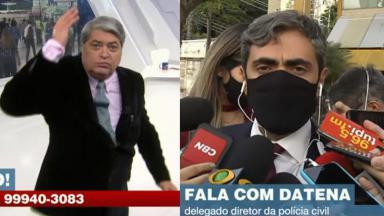 Datena irritado, com a mão levantada; delegado Antenor Lopes cercado de microfones durante entrevista