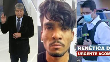 Datena durante o Brasil Urgente; Lázaro Barbosa na polícia; Felipe Garraffa durante cobertura, segurando microfone