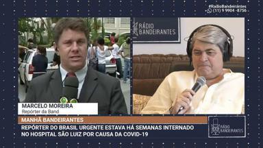 O repórter Marcelo Moreira fala com José Luiz Datena após se recuperar do coronavírus