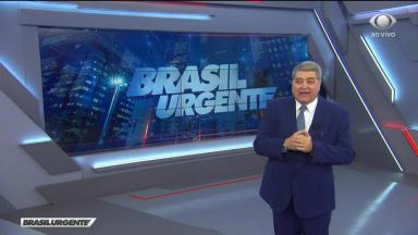 José Luiz Datena grisalho apresentando o Brasil Urgente
