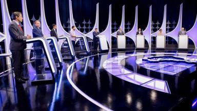 Candidatos à presidência no debate do SBT