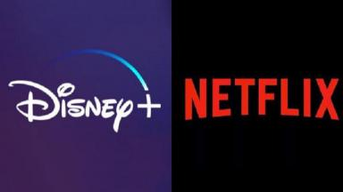 Logotipos do Disney+ e Netflix em foto montagem