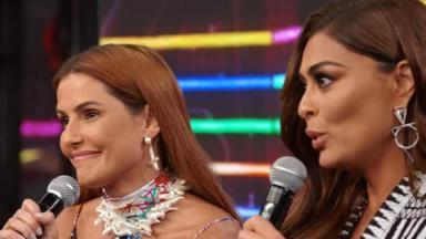 Juliana Paes e Deborah Secco no palco do Domingão do Faustão