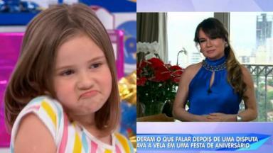 Maria Eduarda, a menina cujo vídeo viralizou na última semana, participou do Domingo Legal, que também contou com entrevista da psicóloga Suzy Camacho