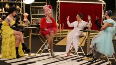 As drag queens Rita Von Hunty, Penelopy Jean e Ikaro Kadoshi  posam montadas e sorridentes
