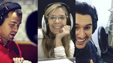 Os dubladores Diego Lima, Angélica Santos e Gabriel Ebling