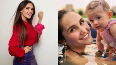Montagem de fotos com Dulce María sorridente e dentro de uma piscina segurando a filha María Paula, de sete meses