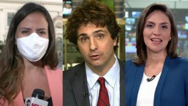 Os jornalistas brasileiros Raquel Krähenbül, Guga Chacra e Cecília Flesch na cobertura das eleições dos EUA
