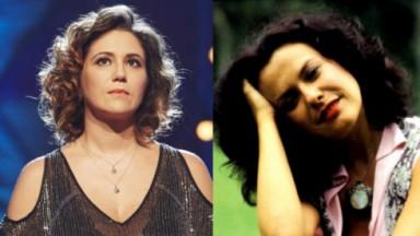 Maria Rita olhando para o alto; Elis Regina posada com a mão no cabelo
