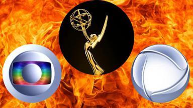 Logo tipo da Globo e da Record e troféu do Emmy Internacional