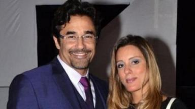 Luciano Szafir abraçado com a sua esposa