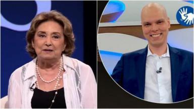 Montagem com as fotos de Eva Wilma e Bruno Covas  na TV Cultura