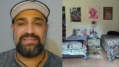Evandro Santo, o Christian Pior, exibiu, em rede social, foto de seu quarto em clínica de reabilitação contra as drogas