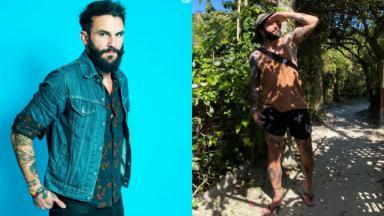 Montagem do ex-BBB Wagner Santiago, de jaqueta jeans e a mão no bolso da calça e ao ar livre, com uma vegetação ao fundo, olhando para o lado com a mão acima dos olhos