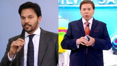 Montagem de fotos de Fábio Faria, de terno, segurando um microfone e Silvio Santos com a plateia ao fundo na gravação do seu programa do SBT