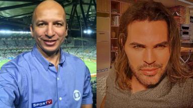 Montagem do ex-jogador de futebol e comentarista esportivo da Globo Fábio Jr. e do cantor Eduardo Costa