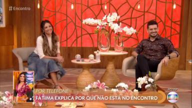 Patrícia Poeta e André Curvello conversam com a apresentadora Fátima Bernardes ao vivo na Globo