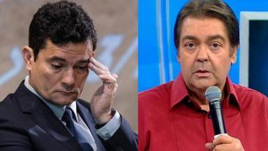 """Fausto Silva segura o microfone olhando para a câmera no estúdio do """"Domingão"""" e Sérgio Moro com a mão na cabeça, preocupado"""