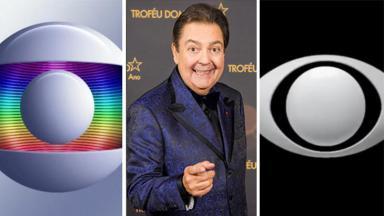 Faustão sombrio entre o logo da Globo e Band