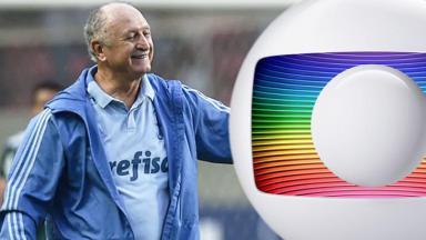 Felipão sorrindo com o logo da Globo
