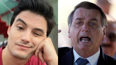 Felipe Neto e Jair Bolsonaro em foto montagem